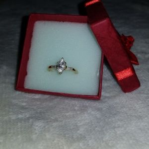 Real diamond and gold ring